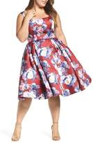 Mac Duggal Plus Size Women's Floral Fit & Flare Dress