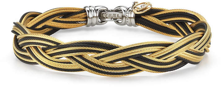 Alor Braided Stainless Steel Micro-Cable Bracelet, Black/Yellow