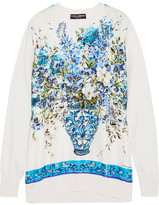 Dolce & Gabbana Printed Silk-satin And Knitted Silk Sweatshirt - Blue