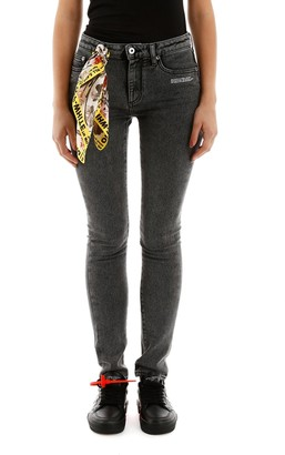 Off-White Off White Bandana Detail Skinny Jeans