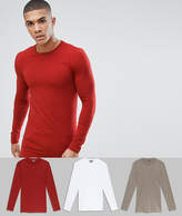 Asos Design 3 Pack Muscle Fit Longline Long Sleeve Crew Neck T-Shirt Save