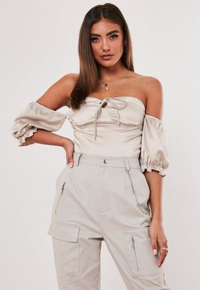 Missguided Lipscombe x Champagne Corset Bust Cup Milkmaid Crop Top