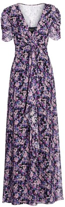 Shoshanna Marella Floral Silk-Blend Long Flare Dress