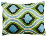 Les Ottomans - Ikat Silk-velvet Cushion - Blue Multi