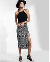Express geo chevron print high waisted midi skirt