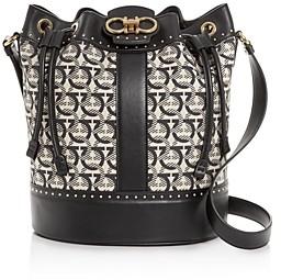 Salvatore Ferragamo Gancini Medium Jacquard & Leather Bucket Bag