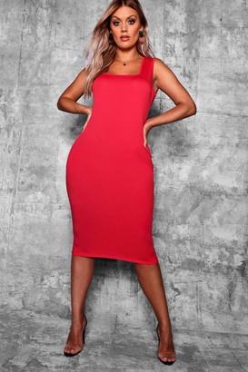 boohoo Plus Longline Square Neck Midi Dress