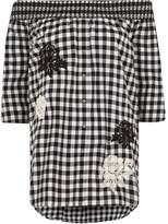 River Island Womens Black gingham floral appliqué bardot top