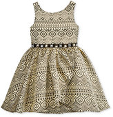 Sweet Heart Rose Embellished Brocade Dress, Little Girls (2-6X)