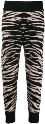 Laneus Tiger-Jacquard Cropped Trousers