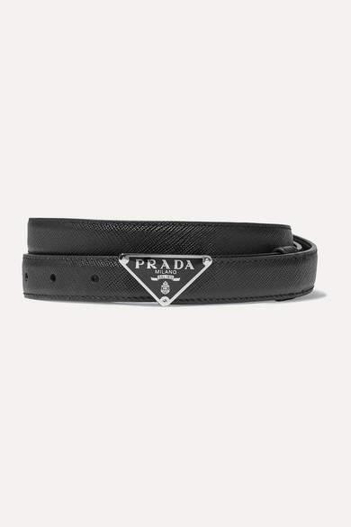 Prada Textured-leather Belt - Black