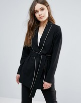 Helene Berman Black And White Print Kimono Belted Top