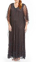 Pisarro Nights Plus V-Neck Beaded Caftan Gown