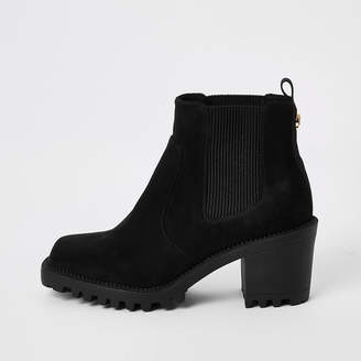 River Island Black suedette square toe heeled ankle boots