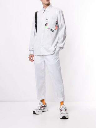 MSGM Patches Striped Shirt