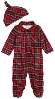 Little Me Infant Boy's Plaid Footie Pajamas & Hat Set