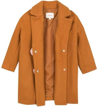 Catimini Camel Thick Wool Coat With Pompoms