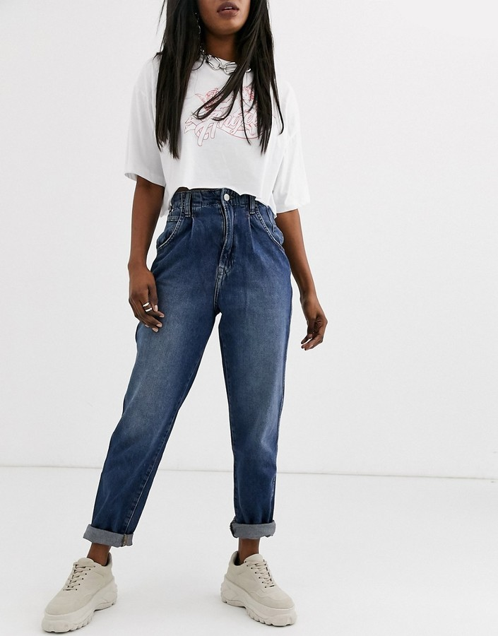 Pepe Jeans Daisie core mom jeans-Blue