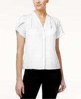 Calvin Klein Petite Flutter-Sleeve Pleated Blouse