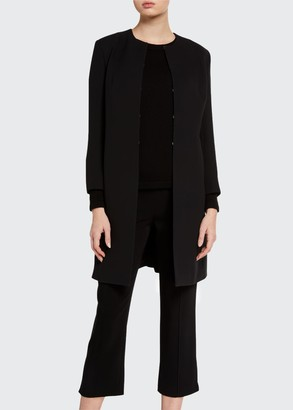 The Row Kei Silk Round-Neck Jacket
