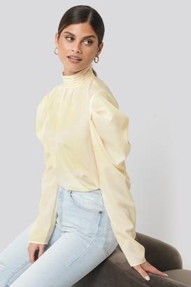 NA-KD Draped Sleeve Blouse Yellow