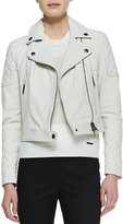 Burberry Grained Lambskin Leather Jacket, White