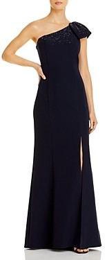 Aidan Mattox One Shoulder Beaded Bow Column Gown