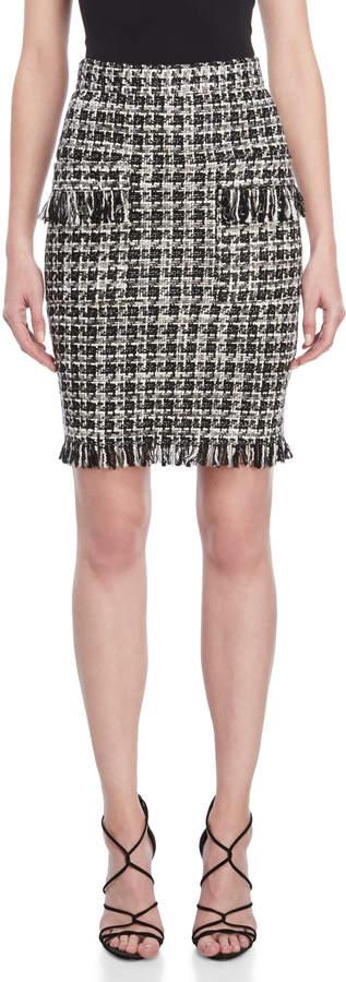 Atos Lombardini Black & White Tweed Fringe Pencil Skirt