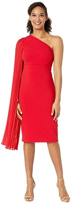 Tahari ASL One Shoulder Crepe Sheath Dress with Dramatic Pleated Fly Away Sleeve (Ruby) Women's Dress