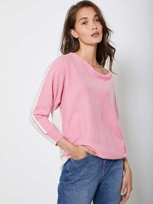 Mint Velvet Blocked CashmereZip Back Batwing Top- Pink