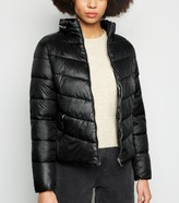 New Look Parisian High Shine Leather-Look Puffer Coat