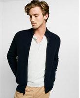 Express dark blue ribbed full zip mock neck sweater