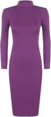 WearAll Women's New Womens Turtleneck Plain Long Sleeve Stretch Bodycon Top Midi Dress - Black - 12-14
