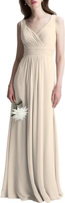 #Levkoff V-Neck Chiffon A-Line Gown