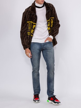 Fendi Leather Lined Shearling Ff Roma Amor Jacket