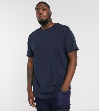 Jack and Jones Originals curved hem t-shirt in navy
