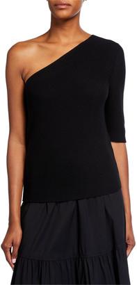 Lafayette 148 New York One-Shoulder Diagonal Stitch Cotton-Silk Tape Sweater