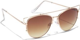 New York & Co. Brow-Bar Aviator Sunglasses