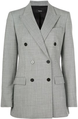 Theory Double-Breasted Micro-Pattern Blazer