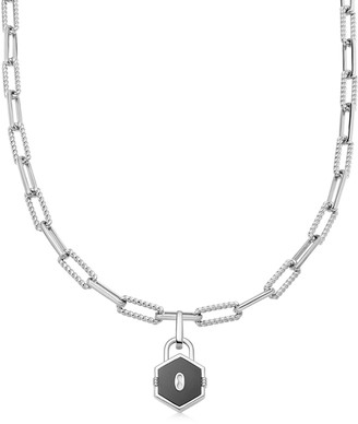 Missoma Limited Silver Onyx Hex Padlock Chain Necklace