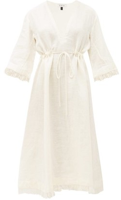 Fil De Vie - Jardin Drawstring-waist Linen Midi Dress - Womens - Cream