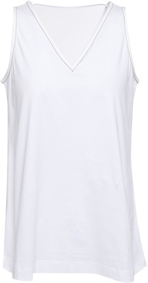 Brunello Cucinelli Cutout Bead-embellished Cotton-jersey Tank