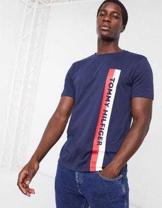 Tommy Hilfiger lounge t-shirt in black with side stripe logo