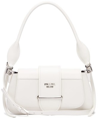 Prada Sidonie Saffiano And Smooth-leather Shoulder Bag - White
