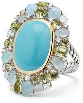 David Yurman Mustique Statement Ring with Turquoise, Peridot, Milky Aquamarine and Diamonds