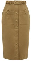 Symonds Pearmain - Belted Cotton-twill Pencil Skirt - Womens - Brown