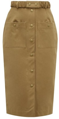 Symonds Pearmain - Belted Cotton-twill Pencil Skirt - Brown