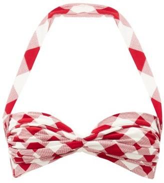 Norma Kamali Bill Halterneck Ruched Gingham Bikini Top - Red White