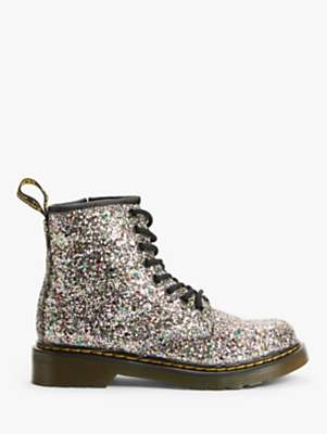 Dr. Martens Children's 1460 Chunky Glitter Lace Up Boots, Silver/Multi