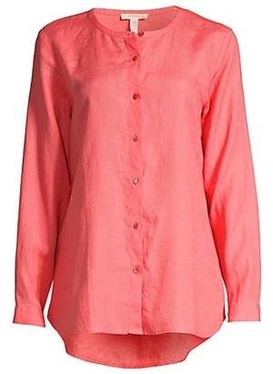 Eileen Fisher Button-Up Linen High-Low Shirt